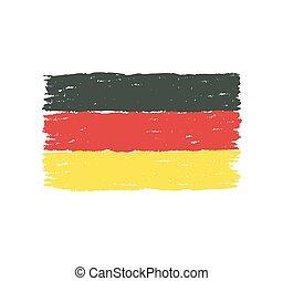 dessiné, drapeau, allemagne, main
