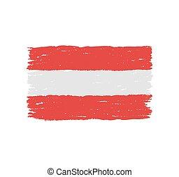 dessiné, drapeau autriche, main