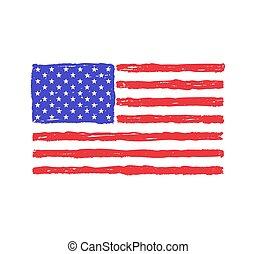 dessiné, drapeau, usa, main