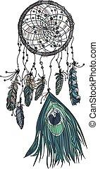dessiné, dreamcatcher., main, ethnique