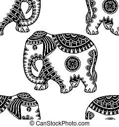 dessiné, elephant., main, ethnique