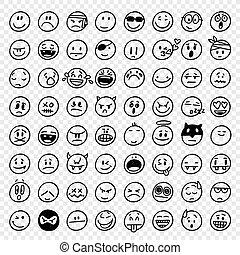 dessiné, emoticons, vecteur, main