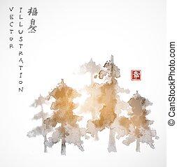 dessiné, encre, forêt, arbres, main