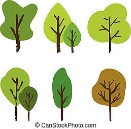 dessiné, ensemble, arbre, main
