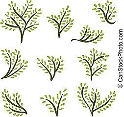 dessiné, ensemble, arbres, main