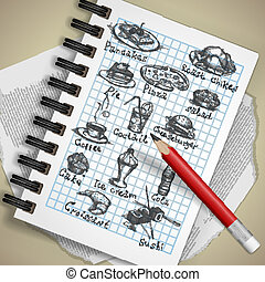 dessiné, ensemble, divers, éléments, main