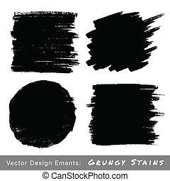 dessiné, ensemble, grunge, backgrounds., main