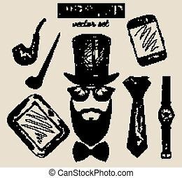 dessiné, ensemble, hipster, accessoires, main