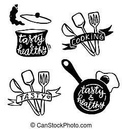 dessiné, ensemble, illustrations, contour, mignon, simple, objets, nourriture, sur, cuisine, expressions, main
