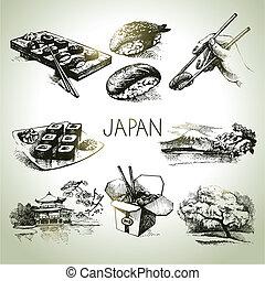 dessiné, ensemble, japonaise, main, vendange