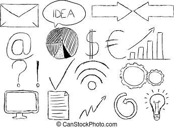 dessiné, ensemble, main, icônes