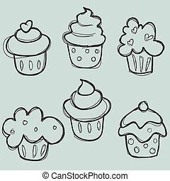 dessiné, ensemble, main, petit gâteau