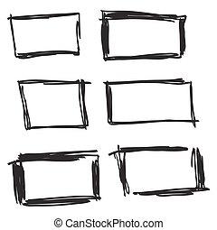 dessiné, ensemble, main, rectangle.
