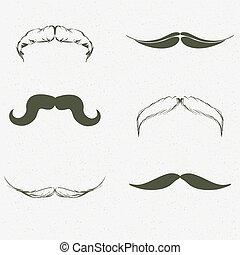 dessiné, ensemble, moustache, main
