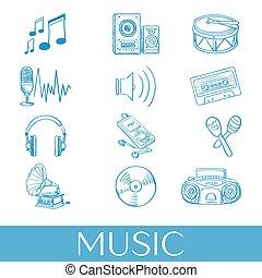 dessiné, ensemble, musique, main, icônes