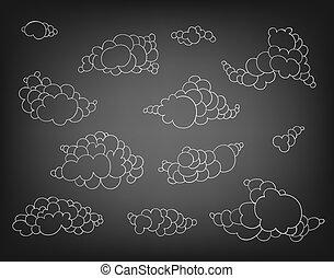 dessiné, ensemble, nuages, main