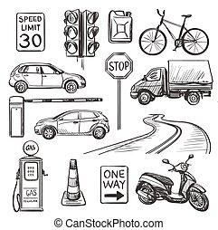 dessiné, ensemble, trafic, main, icônes