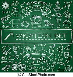 dessiné, ensemble, vacances, main, icônes