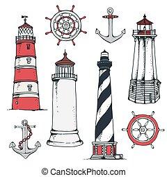 dessiné, ensemble, vendange, main, nautique