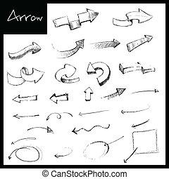 dessiné, flèche, main