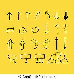 dessiné, flèches, main