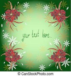 dessiné, fond, waterlilies, main