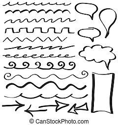 dessiné, frontière, ensemble, lignes, main