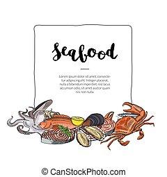 dessiné, fruits mer, vecteur, éléments, main