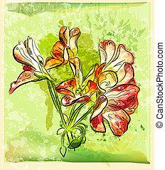 dessiné, géranium, fleur, rouges, main