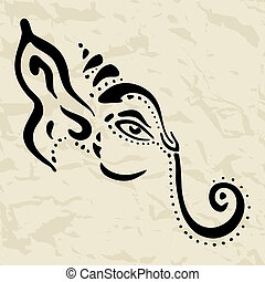 dessiné, ganesha, illustration., main