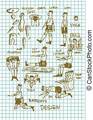 dessiné, gens, main, icônes