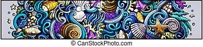 dessiné, griffonnage, mer, détaillé, banner., dessin animé, main, vie, flyer.