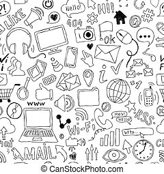dessiné, griffonnage, social, seamless, theme., main, symboles, objets, média, modèle, dessin animé