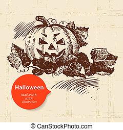 dessiné, halloween, illustration, main