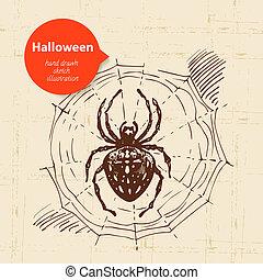 dessiné, halloween, main, illustration