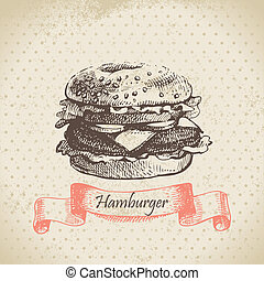 dessiné, hamburger., illustration, main