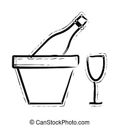 dessiné, icône, vin, main