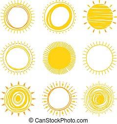 dessiné, icônes, vecteur, main, soleil