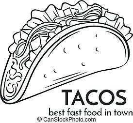dessiné, icon., main, tacos