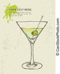 dessiné, illustration, cocktail, main