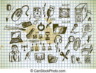 dessiné, informatique, main, icônes
