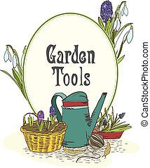 dessiné, jardinage, emblème, outils, main