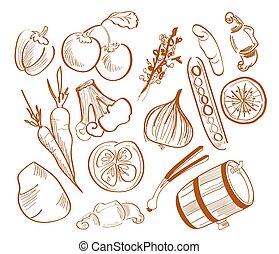 dessiné, légumes, illustration, main