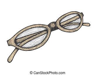 dessiné, lunettes, main