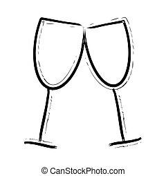 dessiné, lunettes, vin, main, icône