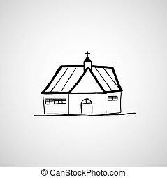 dessiné, main, église