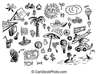dessiné, main, été, icônes