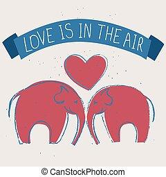 dessiné, main, amour, affiche