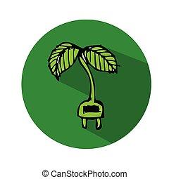 dessiné, main, arbre, icône