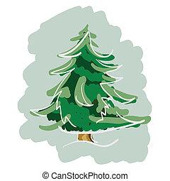 dessiné, main, arbre pin